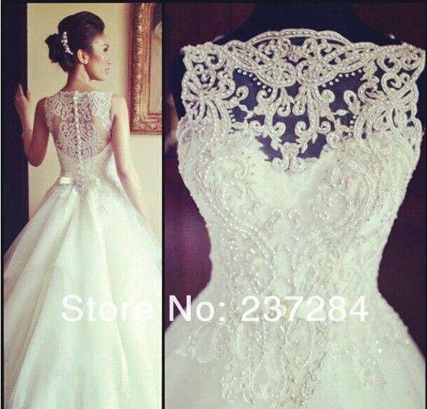 2014 Ball Gown High Neck Zipper Button Long Bridal Wedding Gown Soft Tulle Elegant Bridal Dress Lace Wedding Dress WD0534