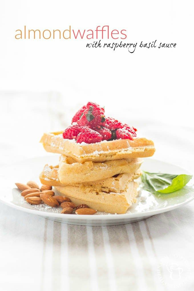 Almond Waffles with Raspberry Basil Sauce | Catz in the Kitchen | catzinthekitchen.com | #berries #almond #waffles #recipe