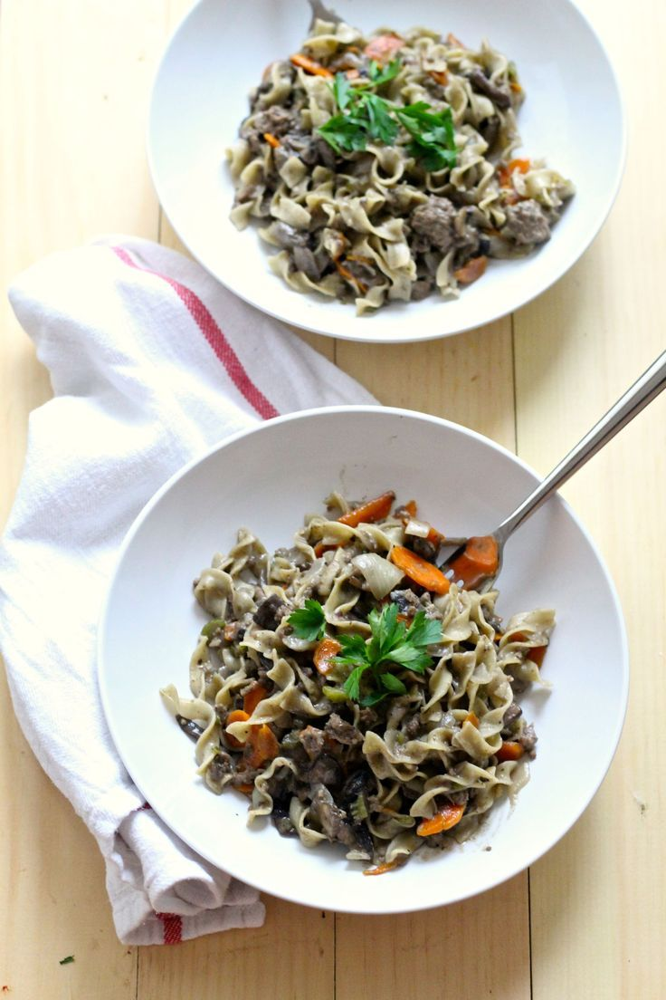 One Pot Healthy Beef Stroganoff
