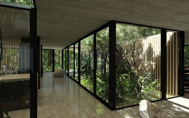 Courtyard Section of Gres House to Create Illusion of Forest Inside