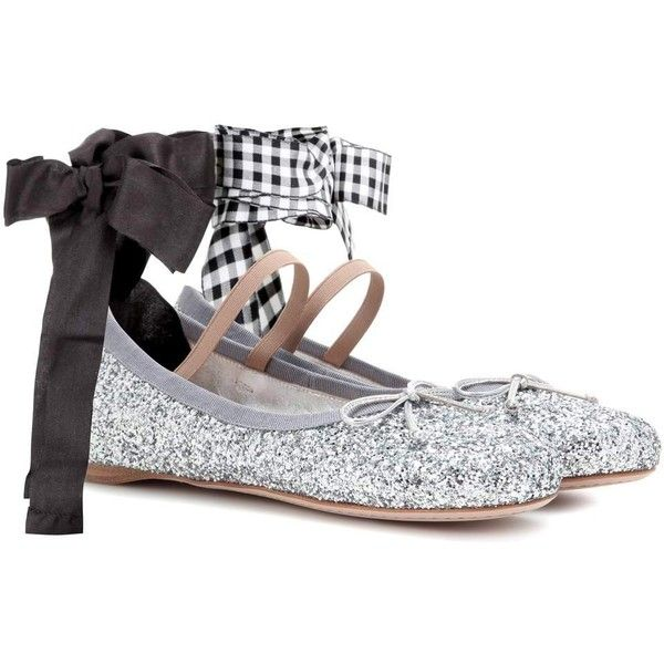 Miu Miu Glitter Ballerinas (830 AUD) ❤ liked on Polyvore featuring shoes,  flats