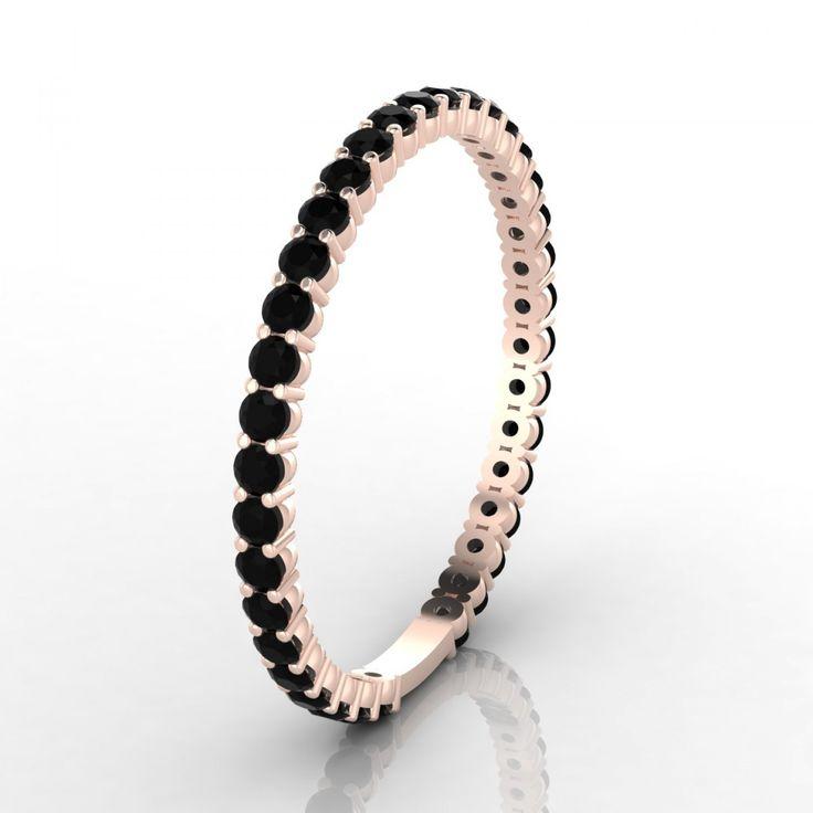 Cérémonie Bague Diamant noir en Or rose 18k - 1