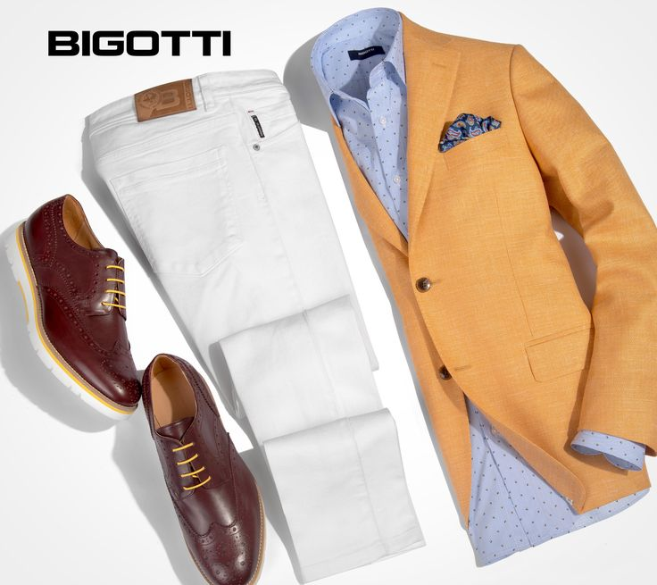 #Get a #bright #summer #party #look with the #yellow #linen #blazer and #white #jeans! www.bigotti.ro #Bigottiromania #moda #barbati #sacou #galben #jeansi #albi #mensfashion #menswear #mensclothing #mensstyle #followus #ootd #ootdmen #stylingtips #wardrobe #summerlook #fashiontag