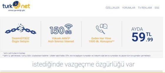 Ayda 59.99 TL'ye Taahhütsüz 150 Akn'li Hızlı internet kampanyası