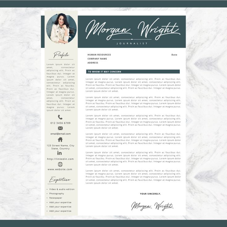Professional Resume + Cover letter Template Editable for MS Word - Curriculum Vitae - English CV with Fonts included - A4