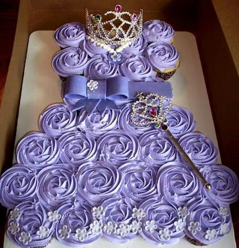 Light purple princess dress cupcake cake.