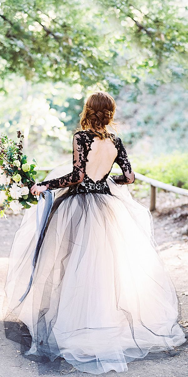 white with black sleeves wedding dress black tulle skirt
