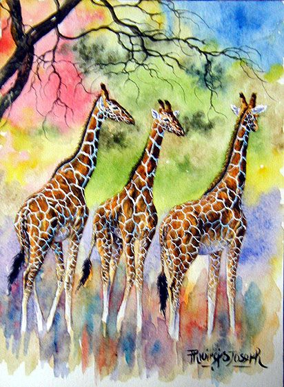 Giraffes heading east  (water color) @Taylor Baglietto inspiration for your concentration?
