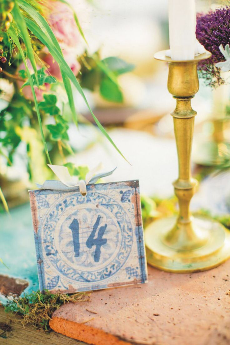 hand made table linen number | rustic blue | summer weddings in greece | wedding accessories | www.bemyguest.com.gr