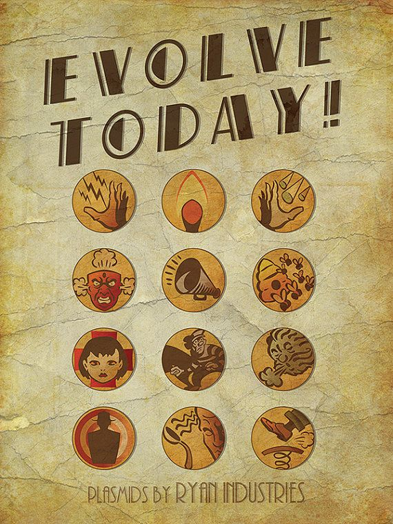 EVOLVE TODAY! Bioshock Inspired Plasmids Vintage Style Video Game Art Poster Print