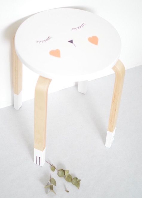 ★ Epinglé par www.la-petite-epicerie.fr Tutos et fournitures pour le Do It Yourself ★ DIY - tabouret Frosta customisé - Ikea