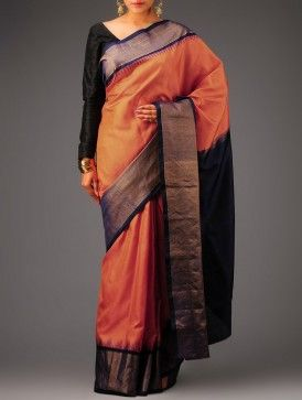 Orange-Black Kanchipuram Silk Saree