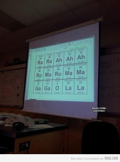 hehe: Chemistry Humor, Lady Gaga, Periodic Tables, Funny, Bad Romances, Chemistry Teacher, Teachers, Science