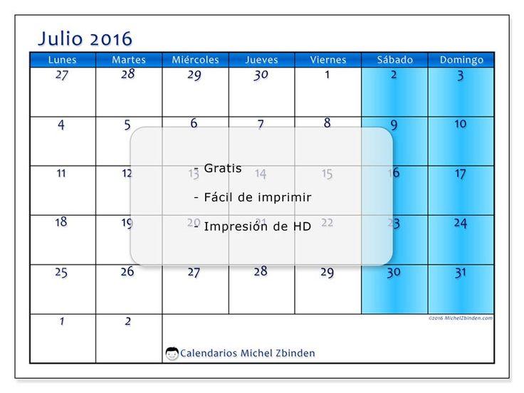 """Calendario """"Fidelis (L)"""" julio 2016 para imprimir"""