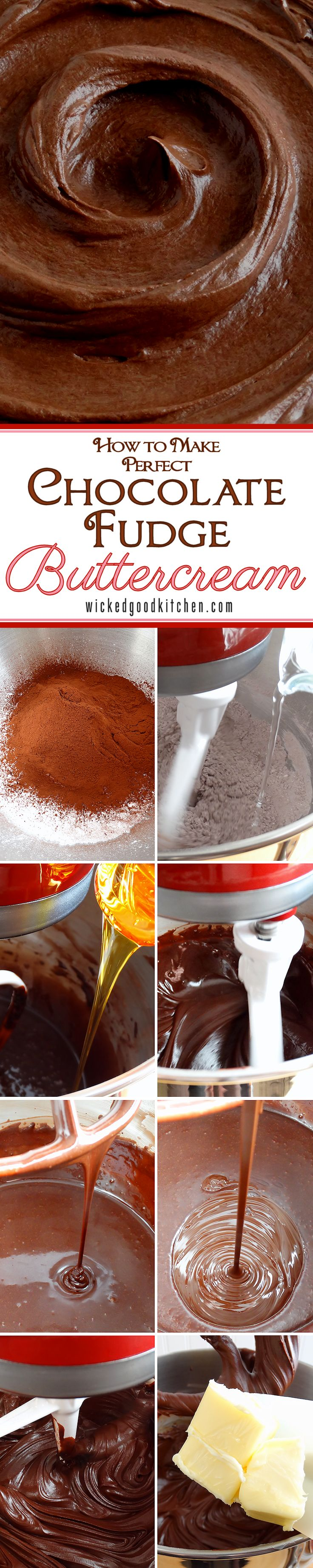 Chocolate Fudge Silk Buttercream ~ Everything you need to know about making the perfect buttercream frosting (made with both cocoa and chocolate). Tutorial includes secret ingredients, a unique method, tips for handling and step-by-step directions and photos. This impressive recipe whips up in just 30 minutes!   diy dessert recipe