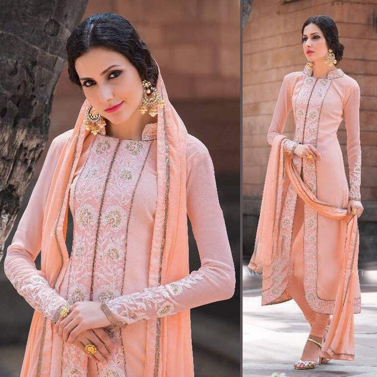 Indian designer pakistani salwar kameez suits shalwar bollywood peach dress  | eBay