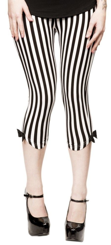Sourpuss Vertical Stripe Beetlejuice Gothic Capri Leggings