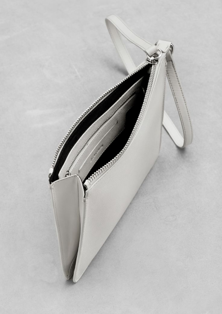 White Leather Clutch - minimal chic bag // & Other Stories