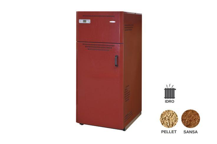 Caldaia multicombustibile a pellet e sansa idro Progettata per essere installata in locali di servizio. Deve essere collegata OBBLIGATORIAMENTE all'impianto idraulico di riscaldamento.