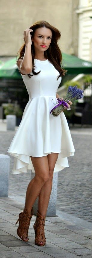 White high-low dress skater style dress. Maybe a cute statement necklace would go well with it...