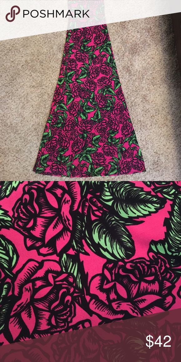 LulaRoe Maxi Skirt Hot Pink Roses Floor length skirt with hot pink background and roses with bright green leaves. Slinky knit. NWOT LuLaRoe Skirts Maxi