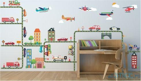 Наклейка на стену Машинки в интерьере детской комнаты