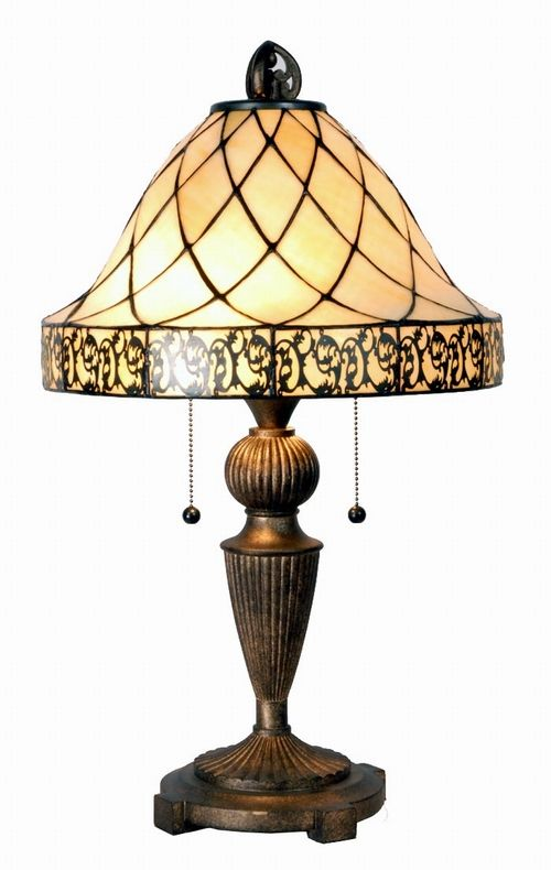 The color of the glass with the pattern would be perfect for a book reading nook lamp.