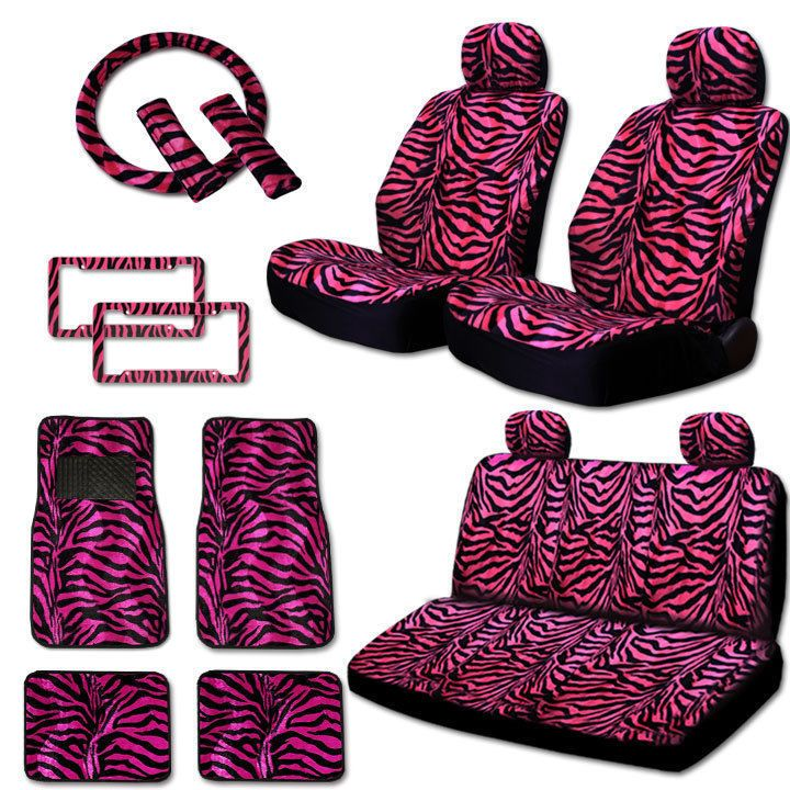 New Safari Hot Pink Zebra Seat Covers Floor Mats License Plate Frames Set