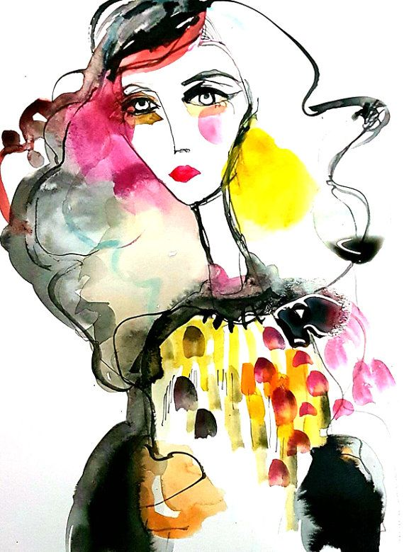 Watercolor painting original illustration Modern by VictoriAtelier