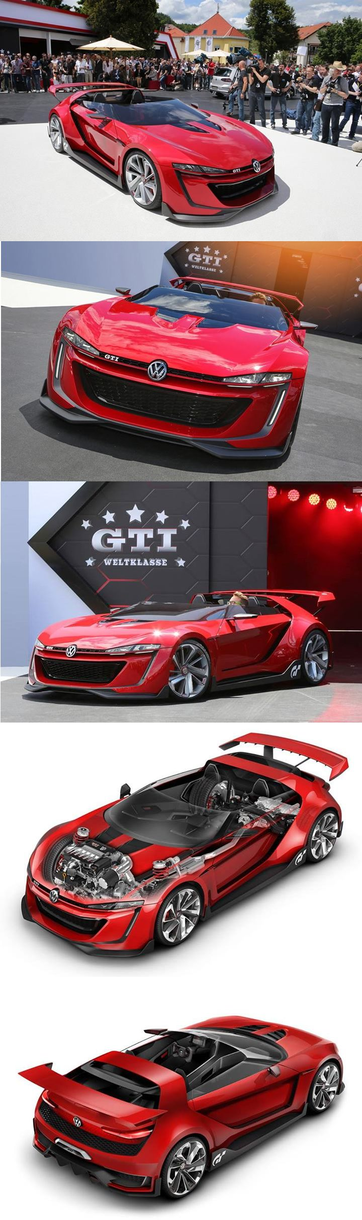 "At Wörthersee, the attraction of the Volkswagen GTI stand is called Roadster. This concept drawing particularly radical is powered by 3.0 V6 biturbo 503 bhp and 57.1 kgm whose power is transmitted to all four wheels via a DSG.  Compared to the Golf GTI as a basis, the wheelbase is reduced by 137 mm or 2494 mm, and height drops to 1.09 m. Volkswagen announces a weight of 1 420 kg, a 0-100 km / h in 3 ""6 and a Vmax of 309 km / h."