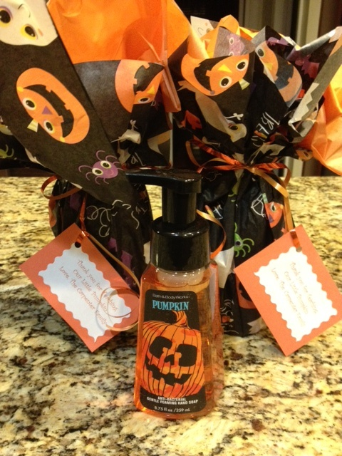 jackets for winter Hand soap wrapped in tissue paper  Tag reads   34 Thank you for teaching our little pumpkin  34