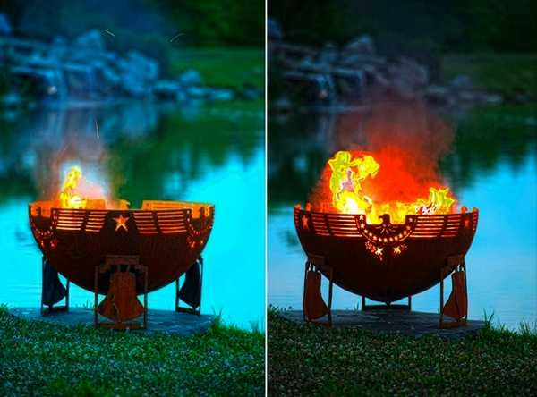 metal globe shaped fire pits for outdoor rooms