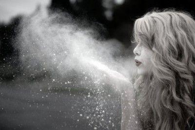 throw glitter or powder during photo shoot. great idea. love the hair.