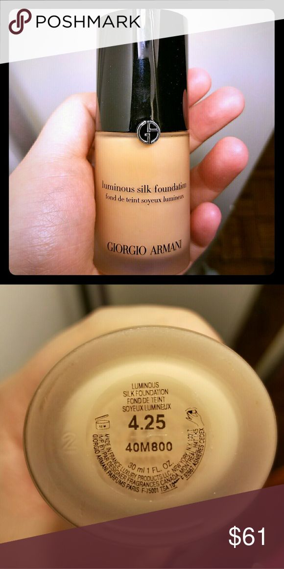 BRAND NEW Luminous Silk Foundation by Armani Brand new bottle!  Capture the glow of perfect skin with Luminous Silk Foundation, an oil free fluid with exclusive Micro-fil technology. Weightless! Its hydrating fluid glides on seamlessly with a silky texture and all day, buildable coverage. All skin types! Giorgio Armani Makeup Foundation