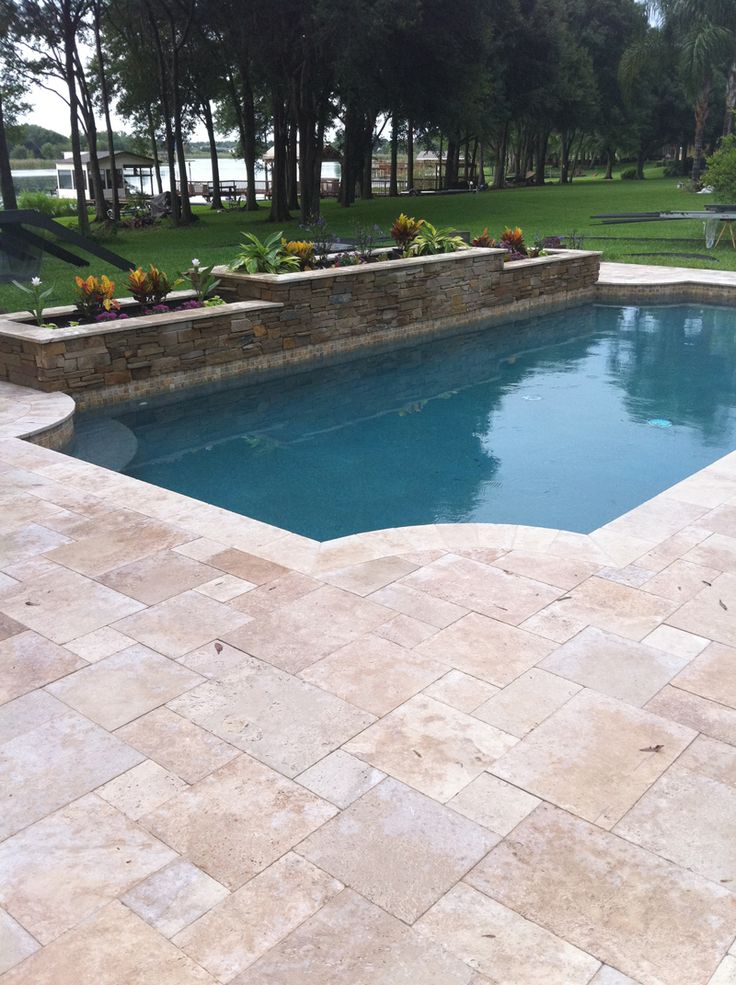 Pool Paver Ideas pavers around a pool more expensive than poured concrete but no cracking Roman Blend 6x12 Travertine Pavers Tumbled Edge Pavers Stone Mart Tampa