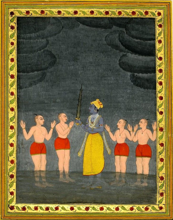 An illustration from a set of Ragamala paintings. Kṛṣṇa and four wrestlers…