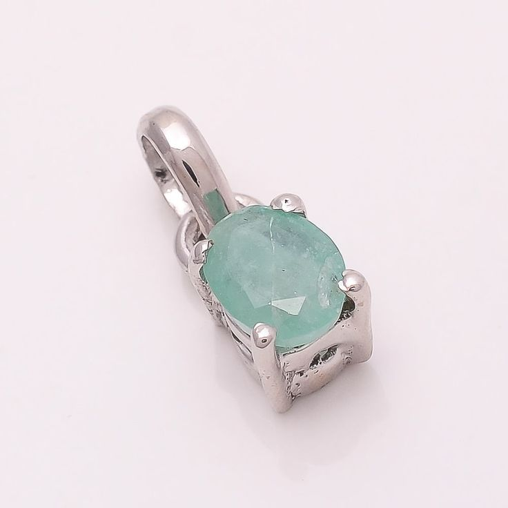 EMERALD 6*4 MM OVAL 925 STERLING SILVER PENDANT NATURAL EMERALD Pendant TA112332 #Handmade #Pendant