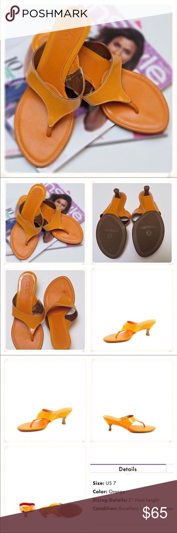 """EUC Cole Haan """"Franny"""" Sandals - Orange EUC Cole Haan Franny Mid Heel Thong Sandals HEELS HEIGHT:2-2.5 inches WIDTH:M COLOUR: Orange Slight imperfections shown in last picture. None are visible while wearing shoes. No box. NO TRADES! Please use offer button to negotiate. Thanks! Cole Haan Shoes Sandals"""