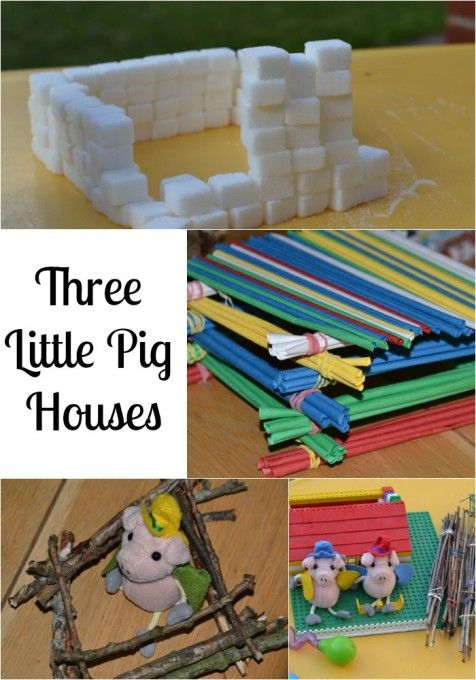 Fun Three Little Pigs Activity ideas. Build houses from different materials and test them to see how waterproof they are and how stable.