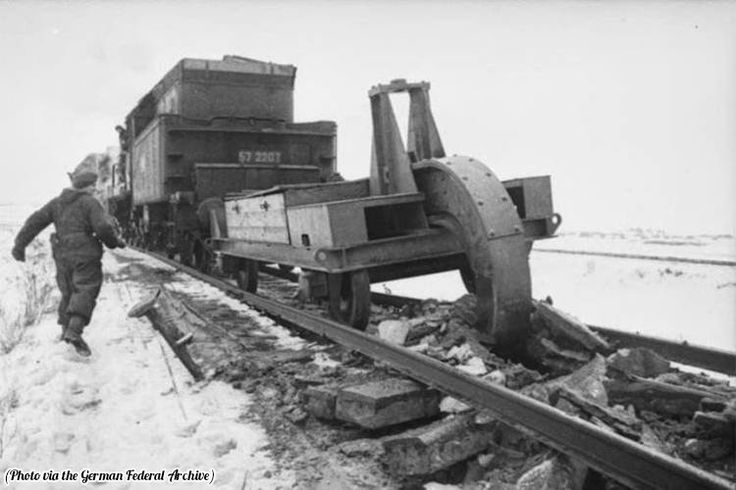 Schienenwolf. A railroad plow used by the retreating German army to destroy railroad tracks, 1945.