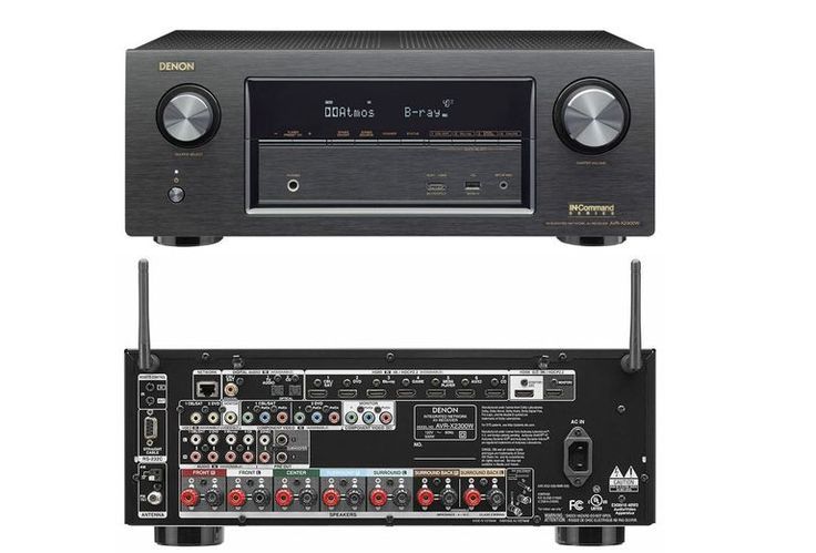 Denon AVR-X2300W Home Theater Receiver - Front and Rear Views