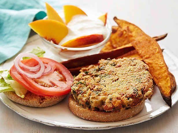 Bean-Kale Burgers With Sweet Potato Wedges