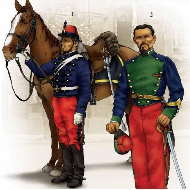 Chile; Granaderos a Caballo Regiment, Trooper, 1879 -84 & 1st Cazadores a Caballo Regiment, Corporal(Cabo), Lima, 1881