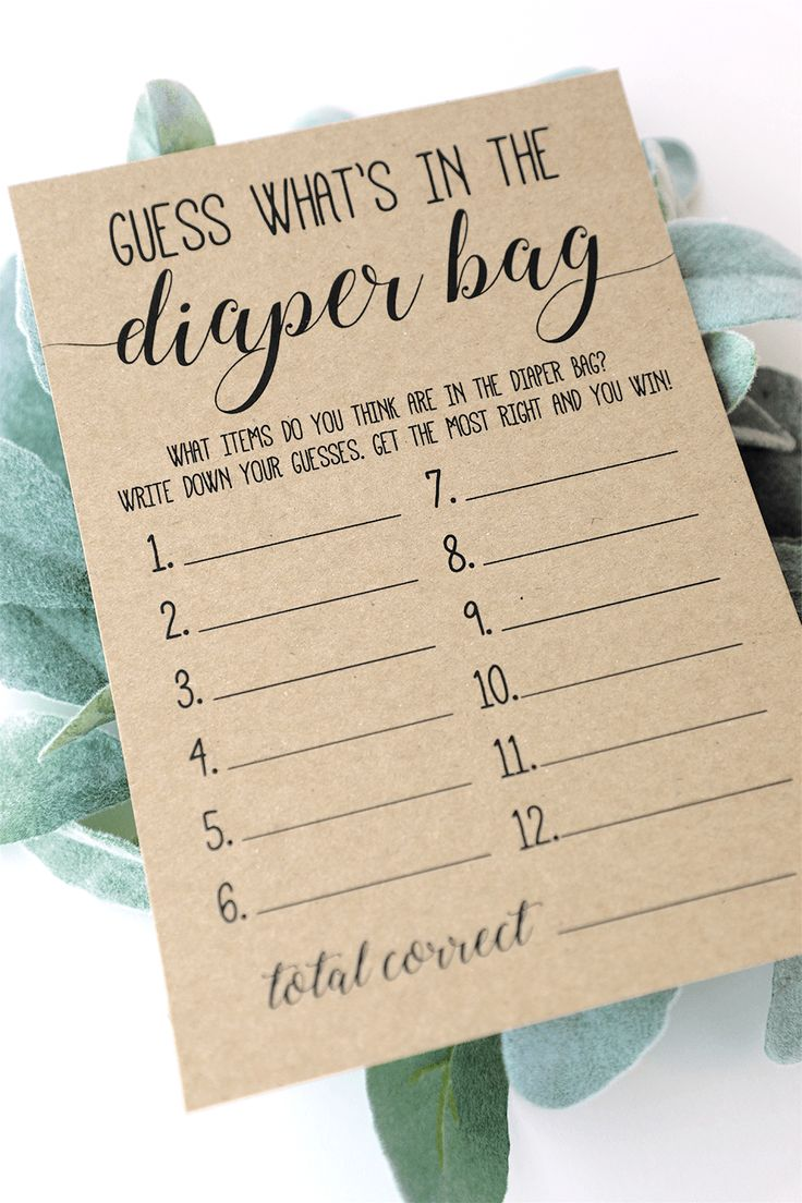 What's in the Diaper Bag, Rustic Baby Shower Game Printable, Whats in Diaper Bag, Baby Shower Games