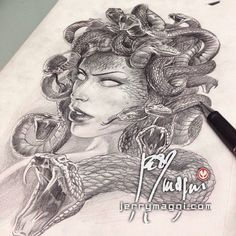 Jerry Magni Tattoo Artist - Bergamo | MEDUSA (preliminary drawing)