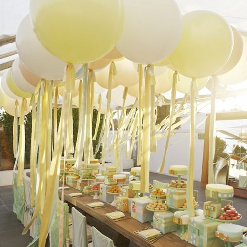 balloons details pastel peach whimsical-bright white yellow ombre watercolor lace colors deco decor decoracion decoration decorations design easter food fun light mesa parties reception setting settings shower table fresh lemon rosemary spring ballon wedding all California