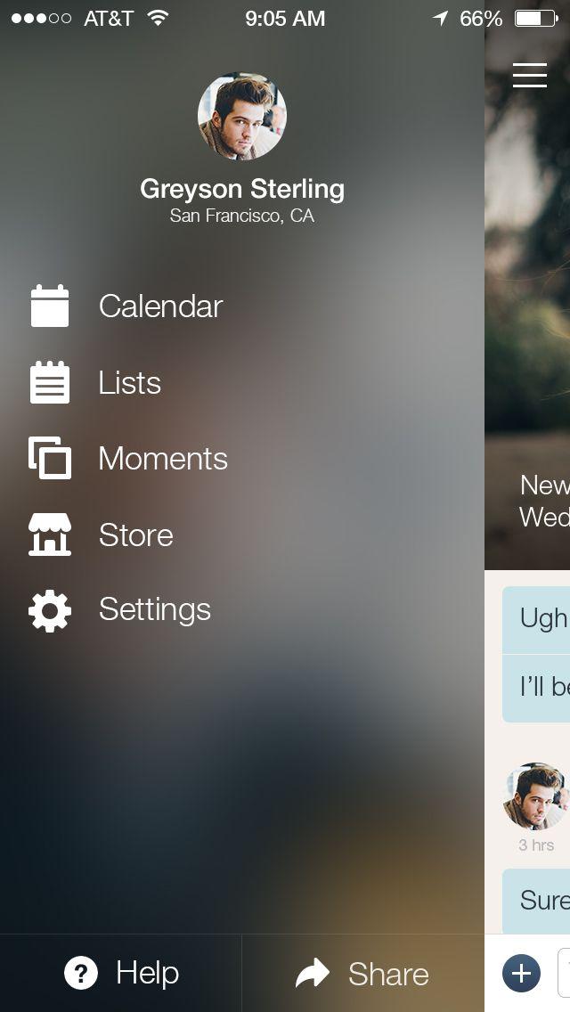 Couple App iOS 7 Menu