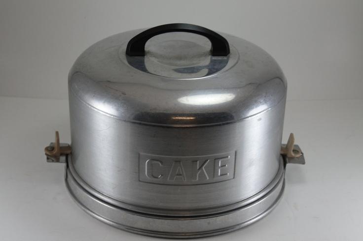 Vintage Metal Cake Carrier Kromex Aluminum