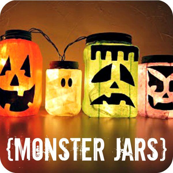 monster jarsCute Halloween, Christmas Lights, Halloweendecor, Jack O' Lanterns, Monsters, Halloween Decor Ideas, Jars Lights, Mason Jars, Halloween Ideas