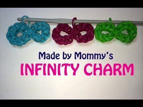 INFINITY Symbol Charm (no loom required).  Designed and loomed by Made By Mommy. Click photo for YouTube tutorial. 03/09/14